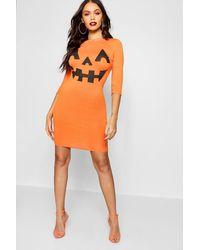 Boohoo Womens Pumpkin Print Halloween Bodycon Dress - Orange