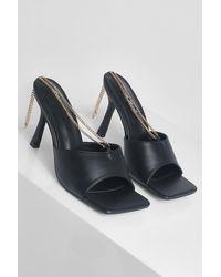 Boohoo Chain Detail Square Toe Mules - Black