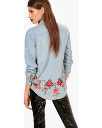 Boohoo - Ellie Embroidered Back Denim Shirt - Lyst