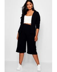 Boohoo - Plus Open Blazer Culotte Suit Co-ord - Lyst