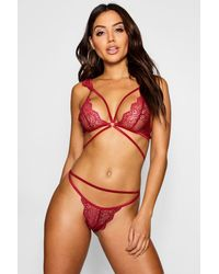Boohoo Womens Multi Strap Pretty Lace Bralet + Brief Set - Red