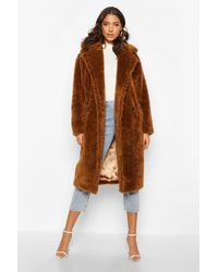 Boohoo Tall Faux Fur Teddy Coat - Brown