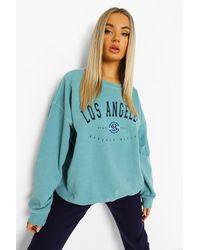 Boohoo Los Angeles Overdyed Oversized Sweatshirt - Blue