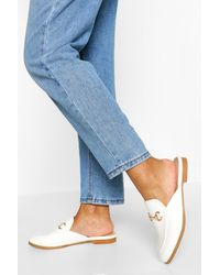 Boohoo T Bar Mule Loafers - White