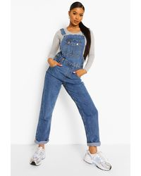 Boohoo Roll Up Hem Relaxed Straight Leg Dungarees - Blue
