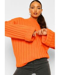 Boohoo Jersey Tall Con De Canalé Grueso Y Puños Remangados - Naranja