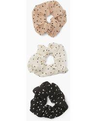 Boohoo 3 Pack Polka Dot Scrunchies - Natural