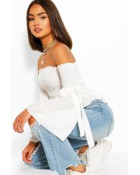 Boohoo Woven Shirred Flared Sleeve Off The Shoulder Top - Black
