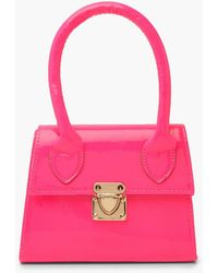 Boohoo Neon Micro Mini Structured Handle Grab Bag - Pink