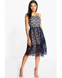 Boohoo - Corded Lace Detail Midi Skater Dress - Lyst