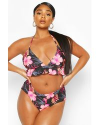 Boohoo Womens Plus Tropical Floral Ruffle High Waist Bikini - Schwarz