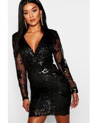 Boohoo Womens Boutique Sequin Print Mesh Bodycon Dress - Black