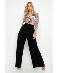 Boohoo Womens Plus Hose Aus Glänzendem Jersey Mit Weitem Bein - Schwarz