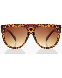 Boohoo Womens Leopard Flat Top Oversized Sunglasses - Brown