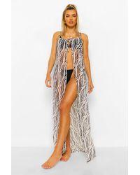 Boohoo Tie Front Zebra Chiffon Open Beach Dress - Multicolor