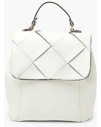 Boohoo Textured Pu Weave Flap Rucksack - White