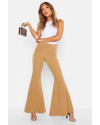 Boohoo Super Flare Belted Trousers - Multicolour