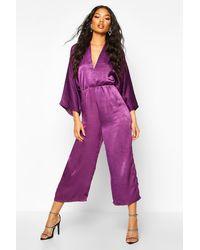 Boohoo Womens Velvet Satin Kimono Sleeve Culotte Jumpsuit - Lila