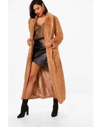 Boohoo - Boutique Belted Faux Fur Robe Coat - Lyst