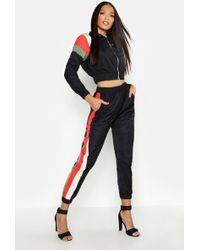 Boohoo Womens Stripe Shell Tracksuit Joggers - Black - 6