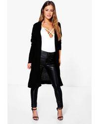 Boohoo Petite Midi Length Cardigan With Pockets - Black