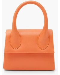 Boohoo Structured Handle Detail Grab Bag With Strap - Orange
