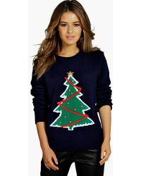 Boohoo Tall Saige Christmas Tree Sweater - Blue