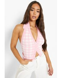 Boohoo Gingham Halter Button Through Cardigan - Pink