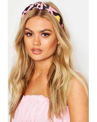 Boohoo Womens Gelb-rosa Haarband mit Leopardenmuster und Knoten - Mehrfarbig