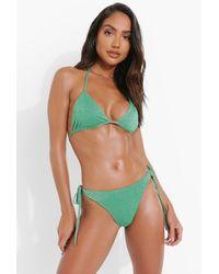 Boohoo Glitter Triangle Bikini Top - Green