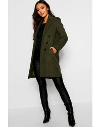 Boohoo Petite Double Breasted Duster Coat - Green