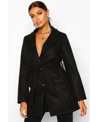 Boohoo - Womens Belted Wool Look Blazer Coat - Lyst