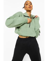 Boohoo Funnel Neck Zip Detail Jumper - Green