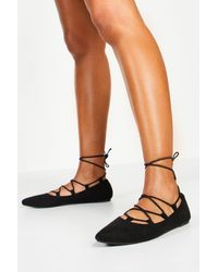 Boohoo Ghillie Pointed Ballets - Black