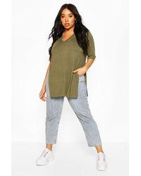 Boohoo Plus V Neck Split Side Longline T-shirt - Green
