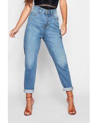 Boohoo Petite High Rise Mom Jeans - Blue
