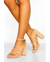 Boohoo Wide Fit Triple Strap Block Heel Sandals - Natural