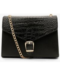 Boohoo Croc Buckle Detail Cross Body Bag - Black
