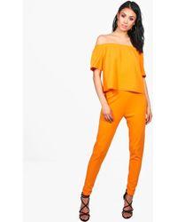 Boohoo | Niamh Off Shoulder Crop + Skinny Trouser | Lyst