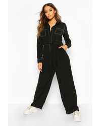 Boohoo Womens Contrast Stitch Woven Tailored Jumpsuit - Black