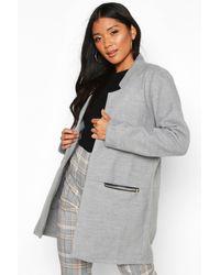 Boohoo Zip Pocket Wool Look Coat - Grey