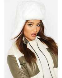 Boohoo Womens Faux Fur Trapper Hat - White