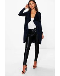Boohoo - Petite Ponte Wrap Front Duster Jacket - Lyst