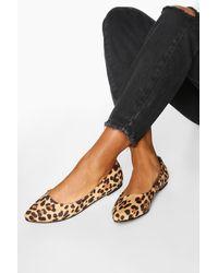 Boohoo Bailarinas Básicas Con Estampado De Leopardo - Negro