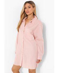 Boohoo Linen Look Oversized Shirt Dress - Rosa
