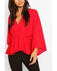 Boohoo Woven Pleated Kimono Sleeve Top - Red