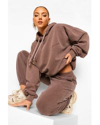 Boohoo Womens Ofcl Studio Melierte Jogginghose Mit Überfärbung - Braun
