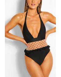 Boohoo Polka Mesh Plunge Bathing Suit - Black