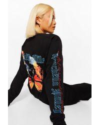 Boohoo Petite Butterfly Printed Long Sleeve T-shirt - Black
