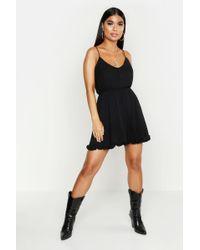 Boohoo Womens Petite Spaghetti Strap Cheesecloth Smock Dress - Black - 0